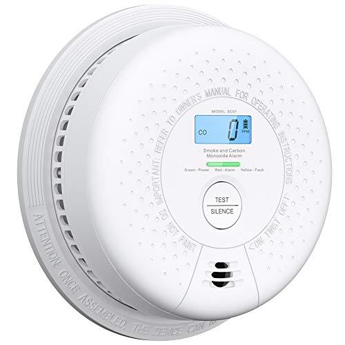 X-Sense Detector de Humo y monóxido de Carbono Alarma de Humo y CO de 10 años, con Pantalla LCD y botón de Prueba, SC01