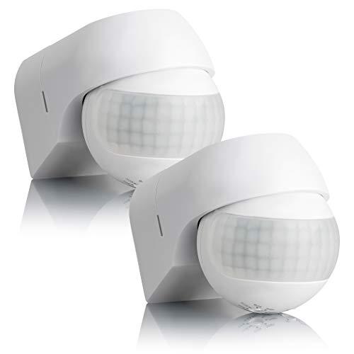 SEBSON® 2X Detector de Movimiento Exterior IP44, Montaje Superficie en Pared, programable, Sensor de Infrarrojos, Alcance 12m / 180°, LED Adecuado, orientable