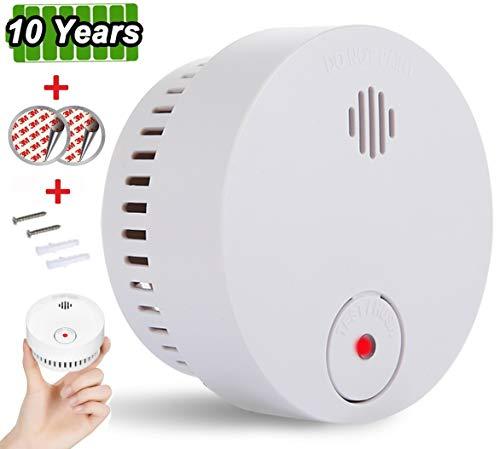 Alarma de Humo, Sendowtek Detector de Humo Independiente, Vida útil de La Batería de 10 Años, Certificación TUV EN14604, Voz de 85dB para Escuela/Dormitorio/Cocina/Oficina (1 pcs)