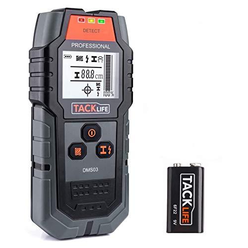 Detector de Pared, TACKLIFE DMS03 4 en 1, Detector de Cable y Tuberia, Metal, Madera, Pantalla LCD Retroiluminada, Bolsa protectora, Adecuado para Ingenieros, Diseñadores y Trabajadores de Renovación