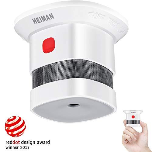 Mini Detector de Alarma de Humo HEIMAN, Batería de por Vida con batería de 10 años, Premio Reddot, Certificado CE, Detector de Incendios fotoeléctrico Independiente para el hogar (1 Unidade)