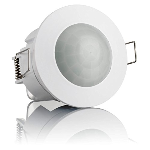 SEBSON Detector de Movimiento Empotrable, Interior, Montaje en Techo, programable, Sensor de Infrarrojos, Alcance 6m / 360°, LED Adecuado