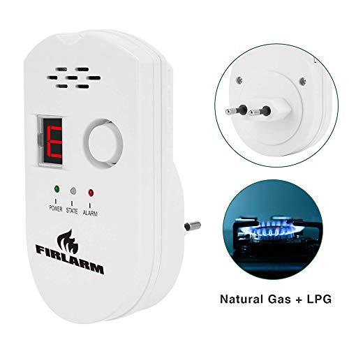 Detector de Gas, Alarma de Gas LPG/gas natural/ciudad, monitor de gas butano propano de metano, advertencia de luz estroboscópica Monitor, Sensor de Fugas de Gas Enchufable de Pantalla Digital(Blanco)