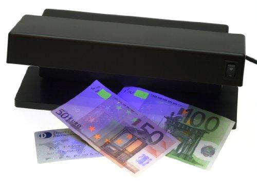 GENIE MD 1784 - Detector de billetes falsos con 2 tubos UV, negro