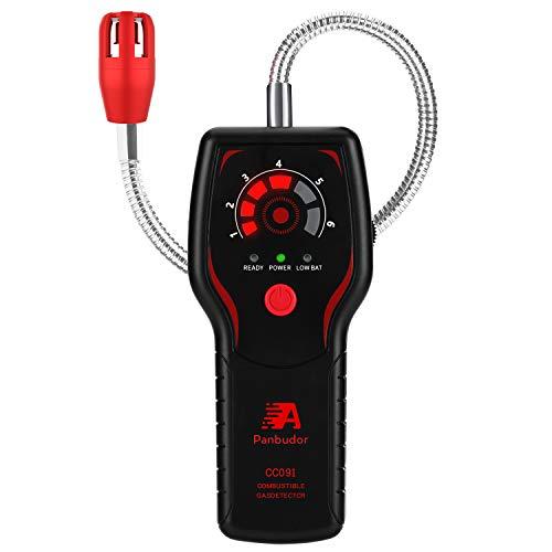 Detector de Fugas de Gas, Alarma de Gas LPG/Gas Natural/Ciudad, Monitor de Gas Metano Propano Butano, Sensor de Cuello Flexible de 12,6 Pulgadas, Sonido LED y Alarma (Negro)…