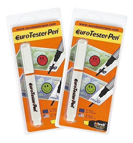 EURO TESTER PEN ® XL - Detector de Billetes Falsos (Fórmula Patentada) 2 Detectores - Descuento 30% Funciona con Todas las Principales Divisas (Made in Italy)